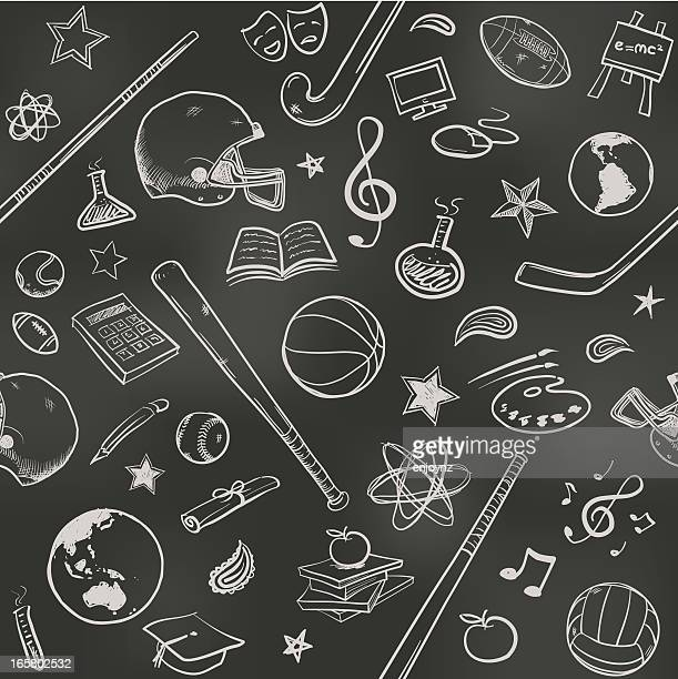 seamless us college background - chalk art equipment stock illustrations, clip art, cartoons, & icons