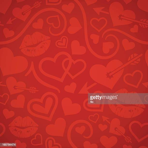 seamless valentine's day background - lipstick kiss stock illustrations, clip art, cartoons, & icons