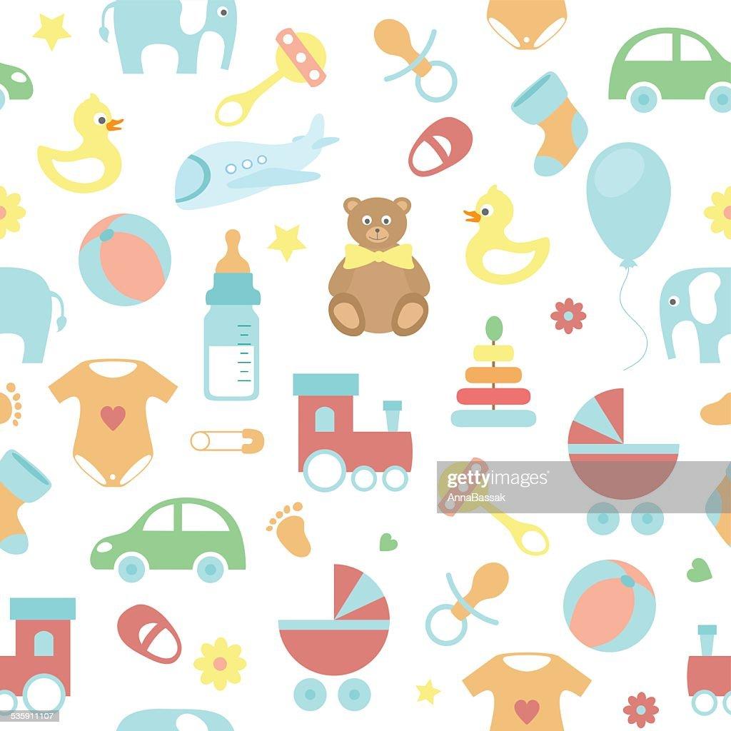 vector patrón sin costuras bebé : Arte vectorial