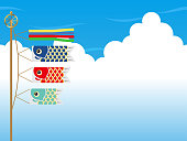 """Seamless vector background illustration with carp streamers for the Japanese """"Kodomo No Hi"""", the Boys Festival."""