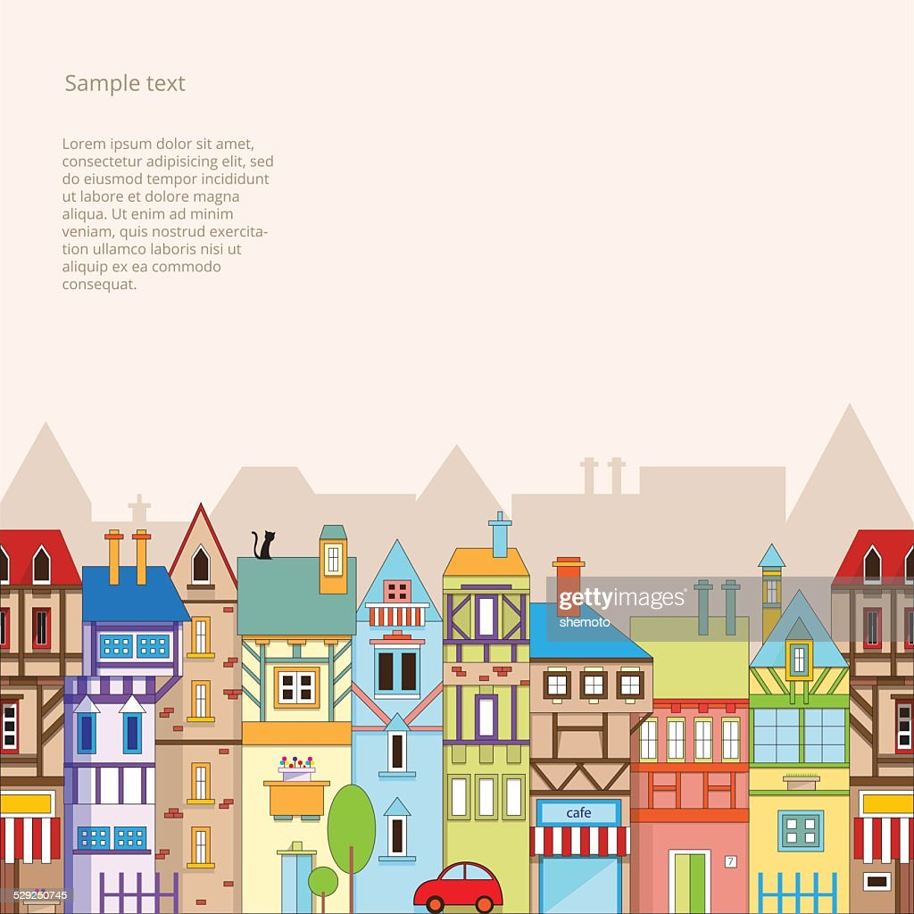 Seamless vector background with colorful houses