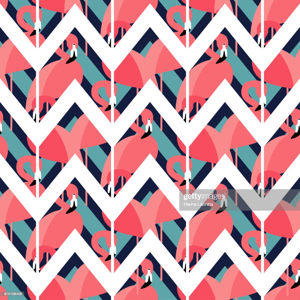Seamless vector background with pattern of Pink Flamingos. Zigzag texture. Textile rapport.