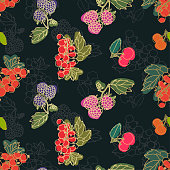 Seamless vector berries pattern. Multicolor berry dark background with thin line gold strokes. Chaotic botanical elements like leaves, raspberry, black and red currant, blueberry, cherry