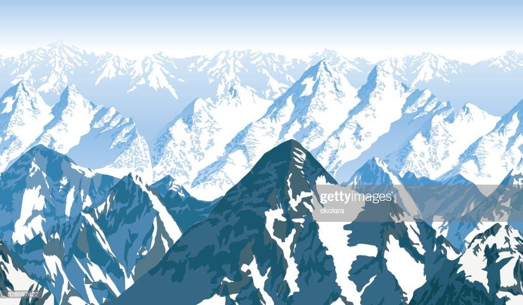 seamless vector blue beautiful mountains panorama pattern