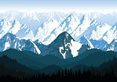 seamless vector blue beautiful mountains with forest panorama pattern