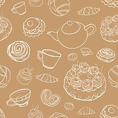 seamless vector contour pattern with baking, tea, cakes
