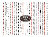 Seamless vector decorative doodle heart paintbrushes.
