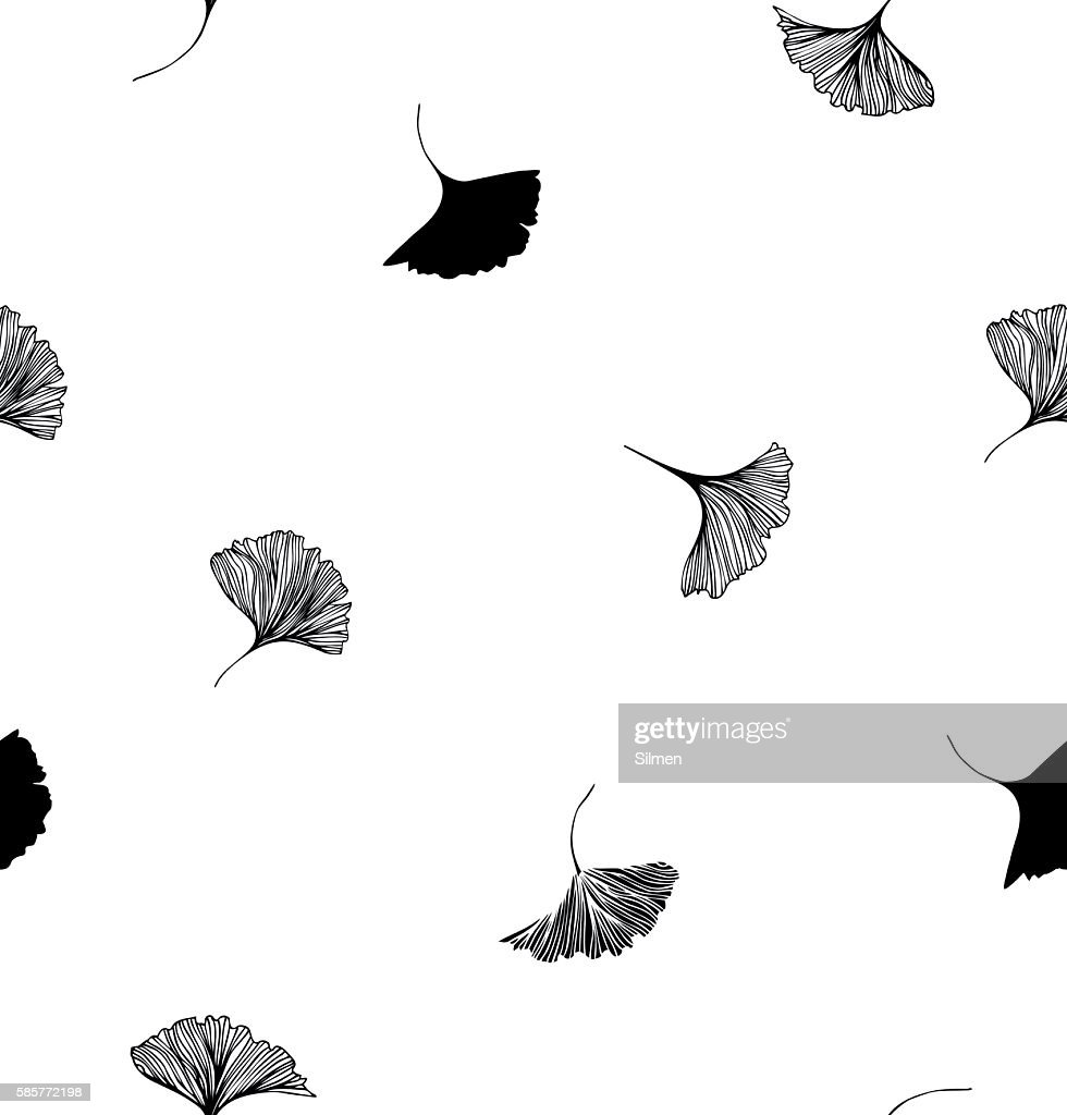 Seamless vector decorative drawn pattern with Ginkgo leaves