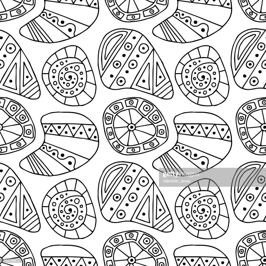 Seamless vector decorative hand drawn pattern. Black and white ethnic endless background with ornamental decorative elements with traditional motives, geometric figures in the shape of stones, shell