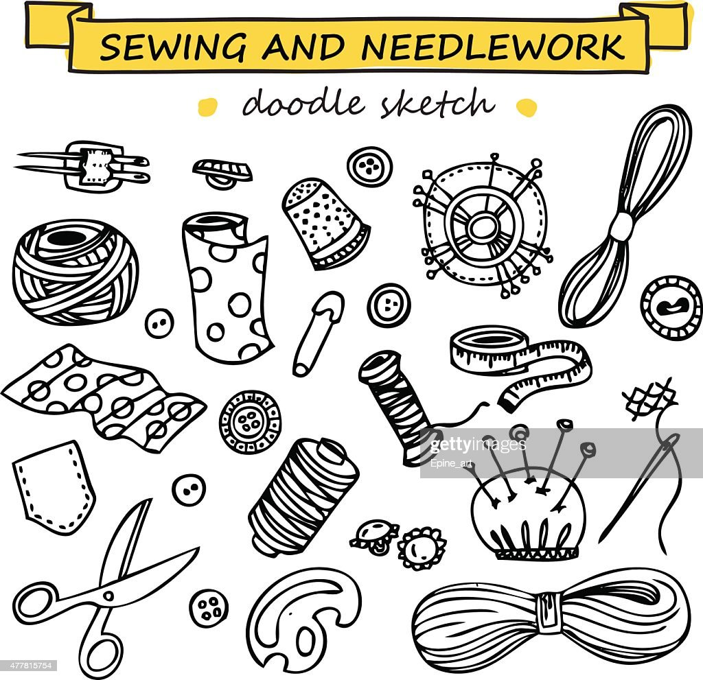 Seamless vector doodle sewing and needlework set