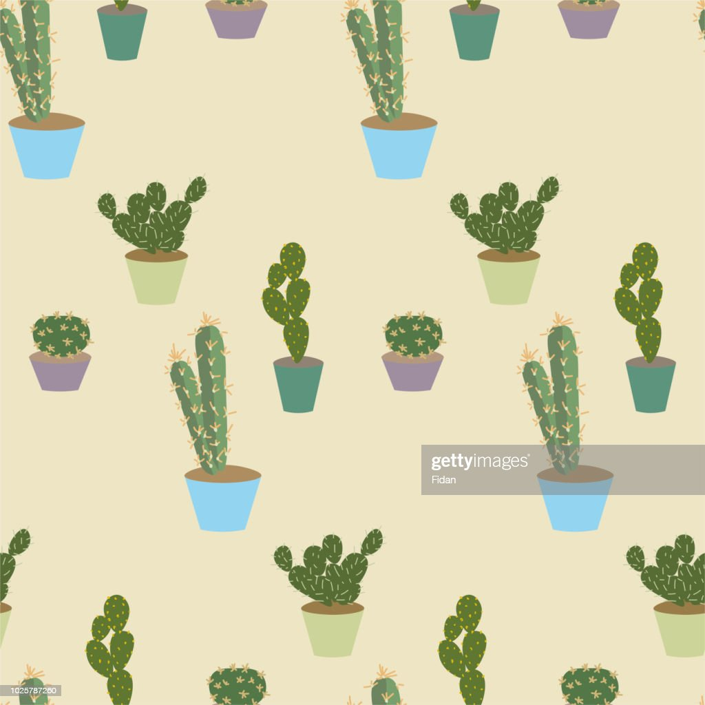 Seamless vector flat style cactus pattern