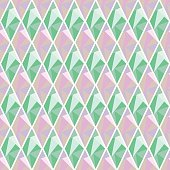 Seamless vector geometrical pattern. Symmetrical background with rhombus in pink and turquoise color. Polygonal design. Geometric triangular origami style, graphic illustration.