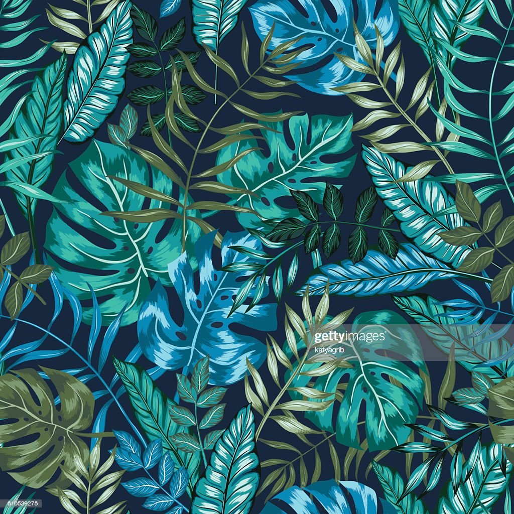 seamless vector graphical artistic tropical nature jungle pattern