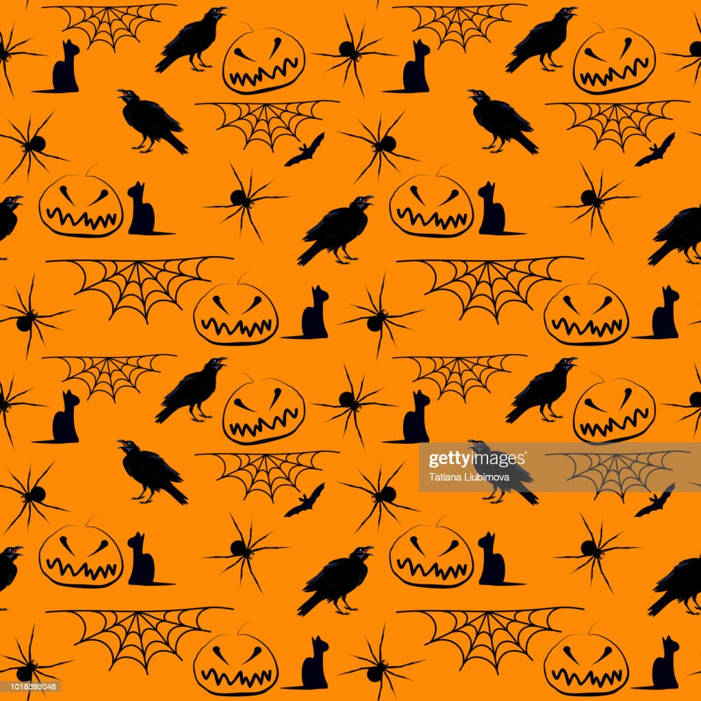 Seamless vector hand drawn pattern with Halloween motif on orange background.