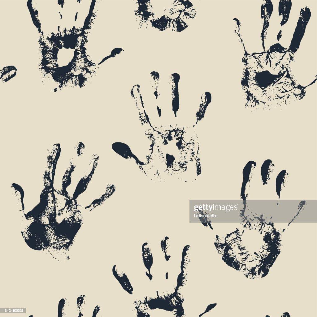 Seamless vector hand print monochrome background.