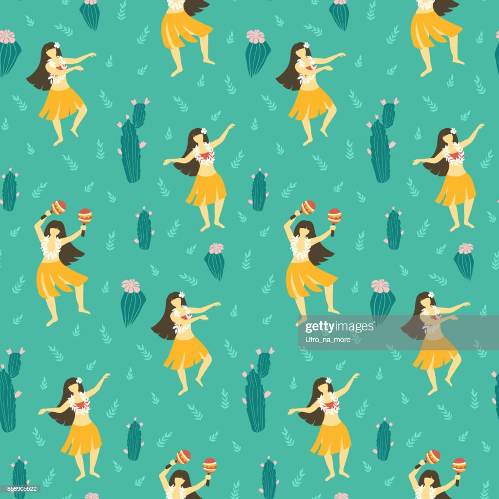 Seamless vector hawaii pattern. Summer background with dancing girls and flowering cactuses. Bright ethnic design.