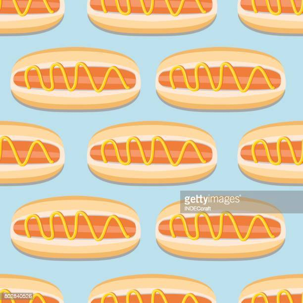 nahtlose - hot dog stock-grafiken, -clipart, -cartoons und -symbole