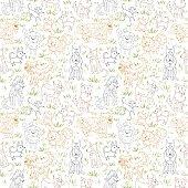 Seamless vector illustration with bulldog, bobtail, dachshund, bullterrier, doberman, spitz, chihuahua