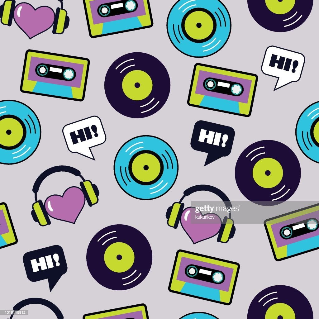 seamless vector musical retro pattern with vinyl