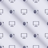 Seamless vector pattern, blue symmetrical background with PC monitors and mouses. Series of Technology Seamless Patterns