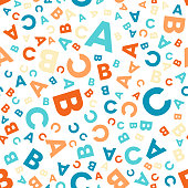 Seamless vector pattern - different letters ABC