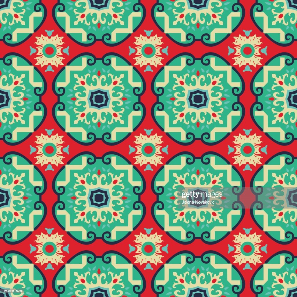 Seamless vector pattern inspired by Italian antique tiles