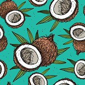 Seamless vector pattern of coconuts