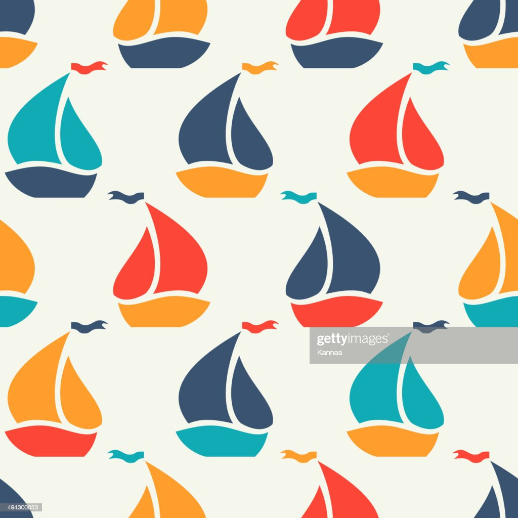 Seamless vector pattern of colorful sailboat shape
