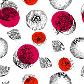 Seamless vector pattern of pomegranate fruits and flowers. Hand drawn. Engraved juicy natural fruit. Moisturizing serum, healthcare. Good for cosmetics, medicine, treating, package design, skincare.