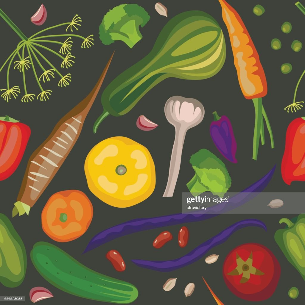 Seamless vector pattern of stylized colored vegetables on a black background.