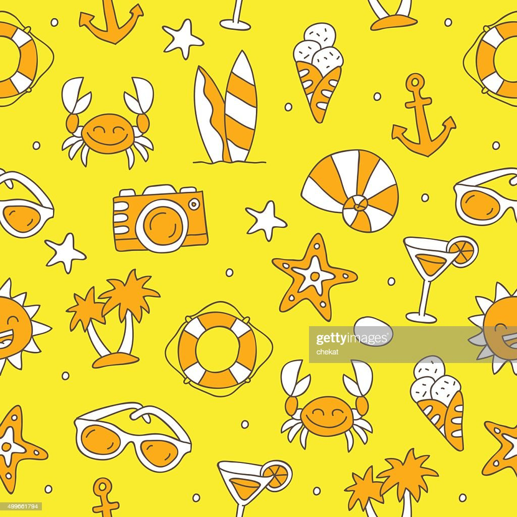 Seamless vector pattern of summer icons