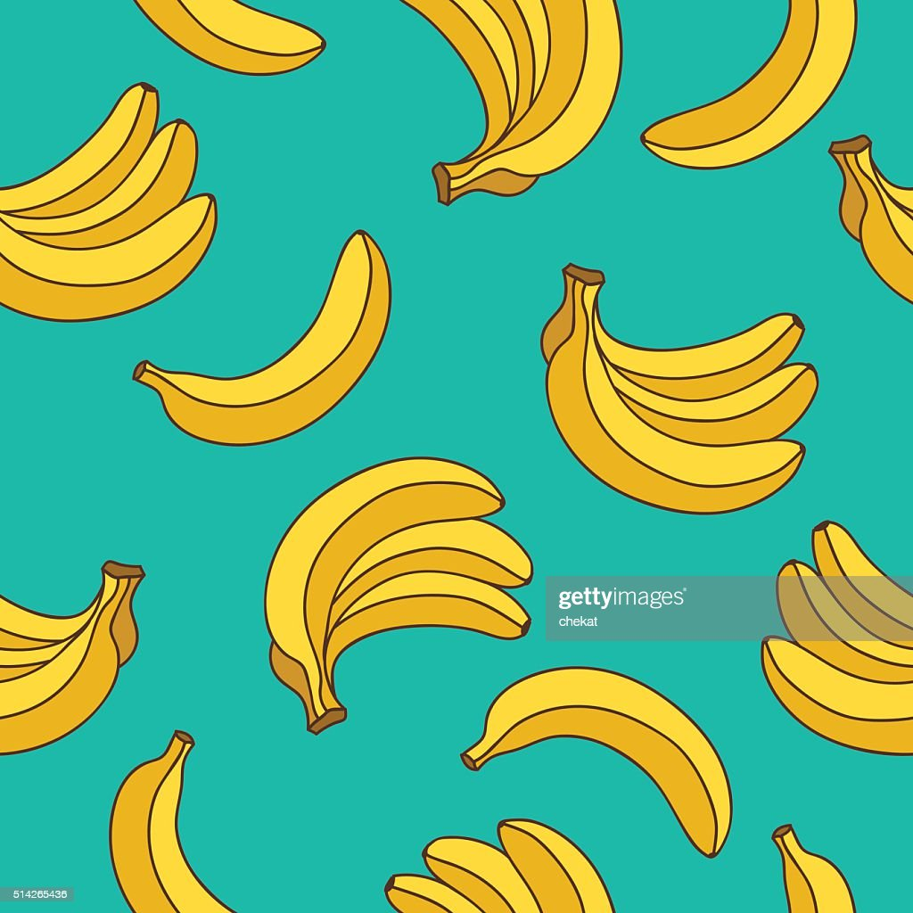 Seamless vector pattern of yellow bananas