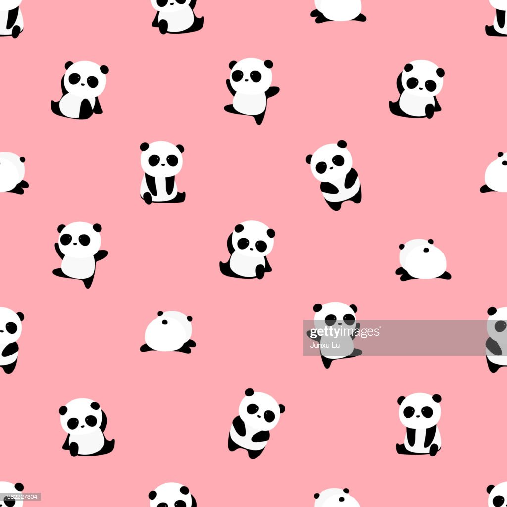 Seamless Vector Pattern: panda bear pattern on light pink / rose background. Small pandas with different gestures.