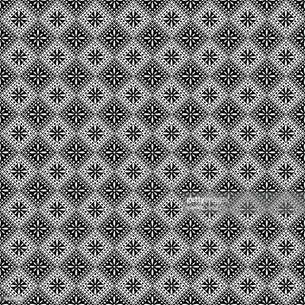 Seamless vector pattern. Symmetrical geometric abstract background with squares in black and white colors. Decorative repeating ornament. Series of Geometric,Ornamental Pattern