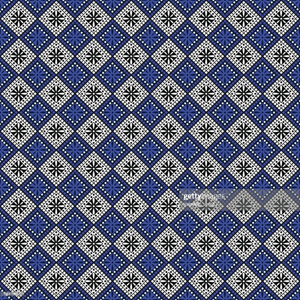 Seamless vector pattern. Symmetrical geometric abstract background with squares in blue, black and white colors. Decorative repeating ornament. Series of Geometric,Ornamental Pattern
