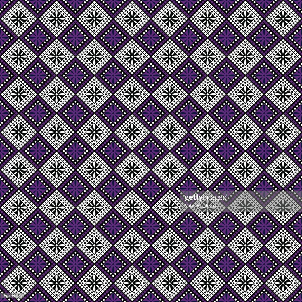 Seamless vector pattern. Symmetrical geometric abstract background with squares in violet, black and white colors. Decorative repeating ornament. Series of Geometric,Ornamental Pattern