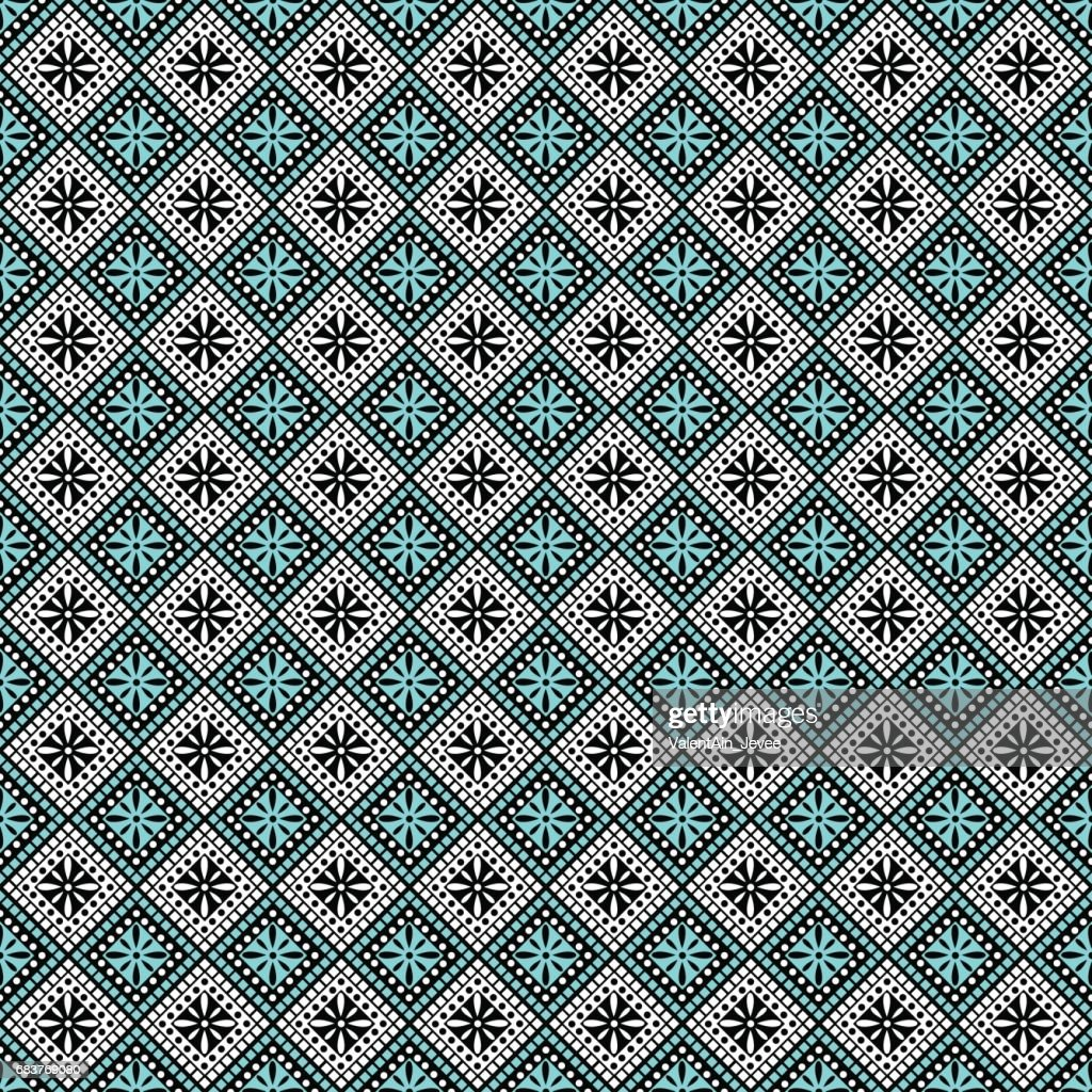 Seamless vector pattern. Symmetrical geometric abstract background with squares in turquoise, black and white colors. Decorative repeating ornament. Series of Geometric,Ornamental Pattern