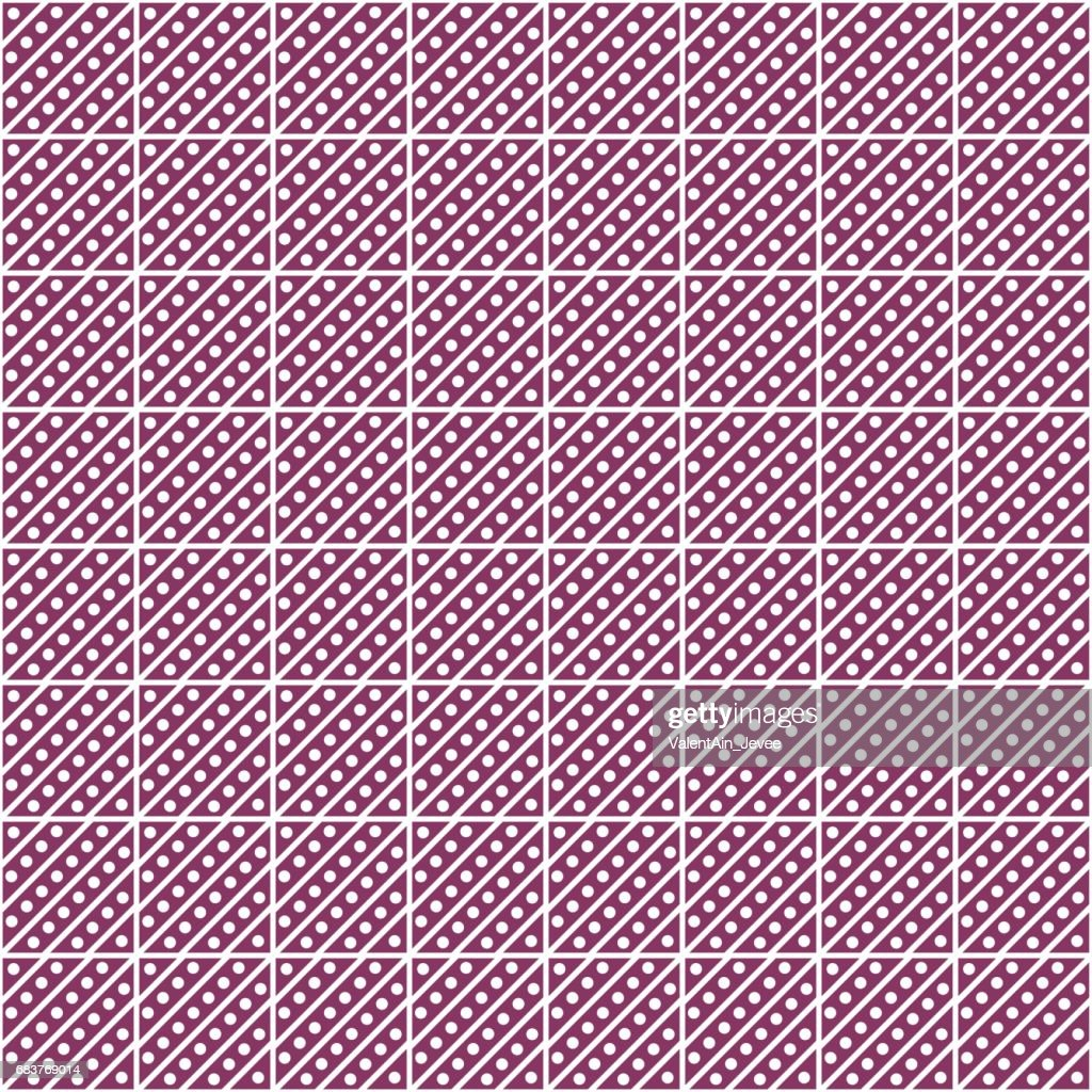 Seamless vector pattern. Symmetrical geometric abstract pink background with squares, lines and dots. Decorative repeating ornament. Series of Geometric,Ornamental Pattern
