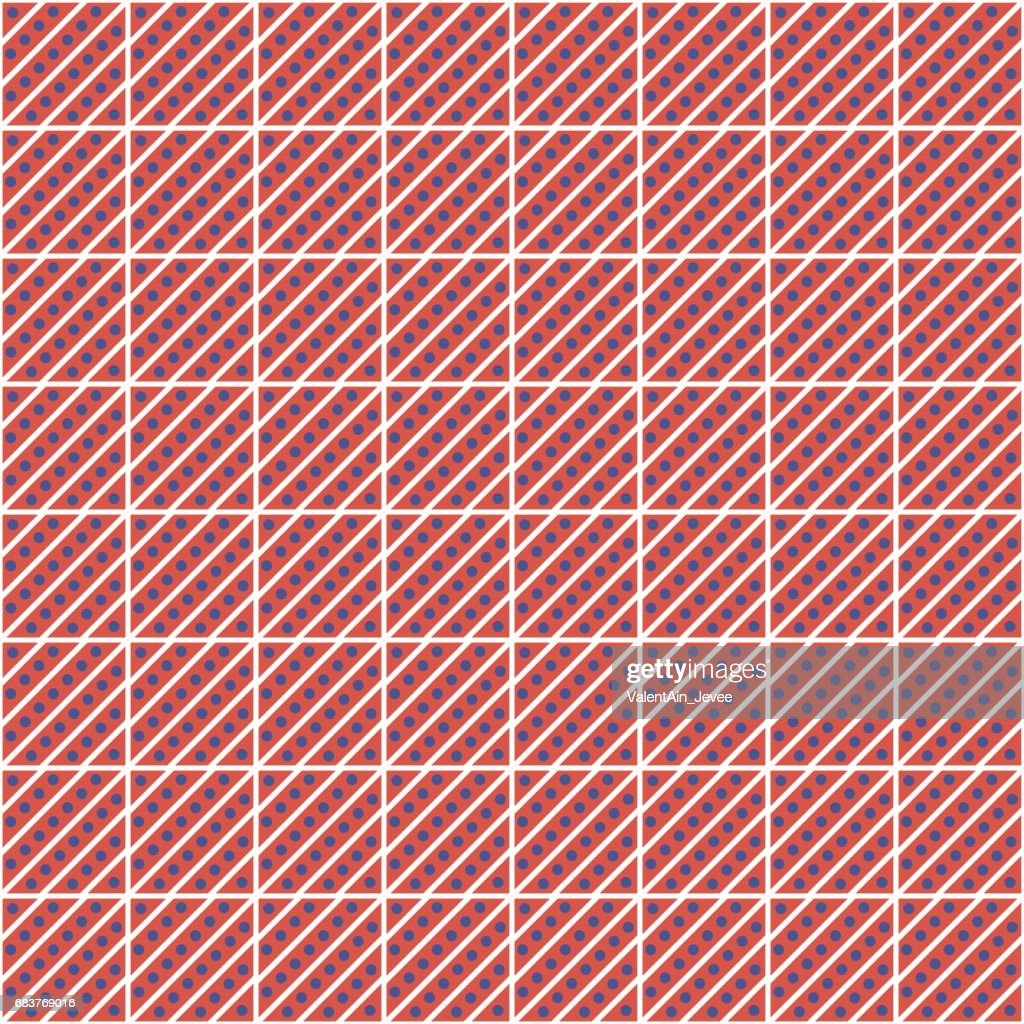 Seamless vector pattern. Symmetrical geometric abstract red background with squares, lines and dots. Decorative repeating ornament. Series of Geometric,Ornamental Pattern