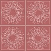 Seamless vector pattern. Symmetrical geometric background with circles on the pink backdrop. Decorative ornament.
