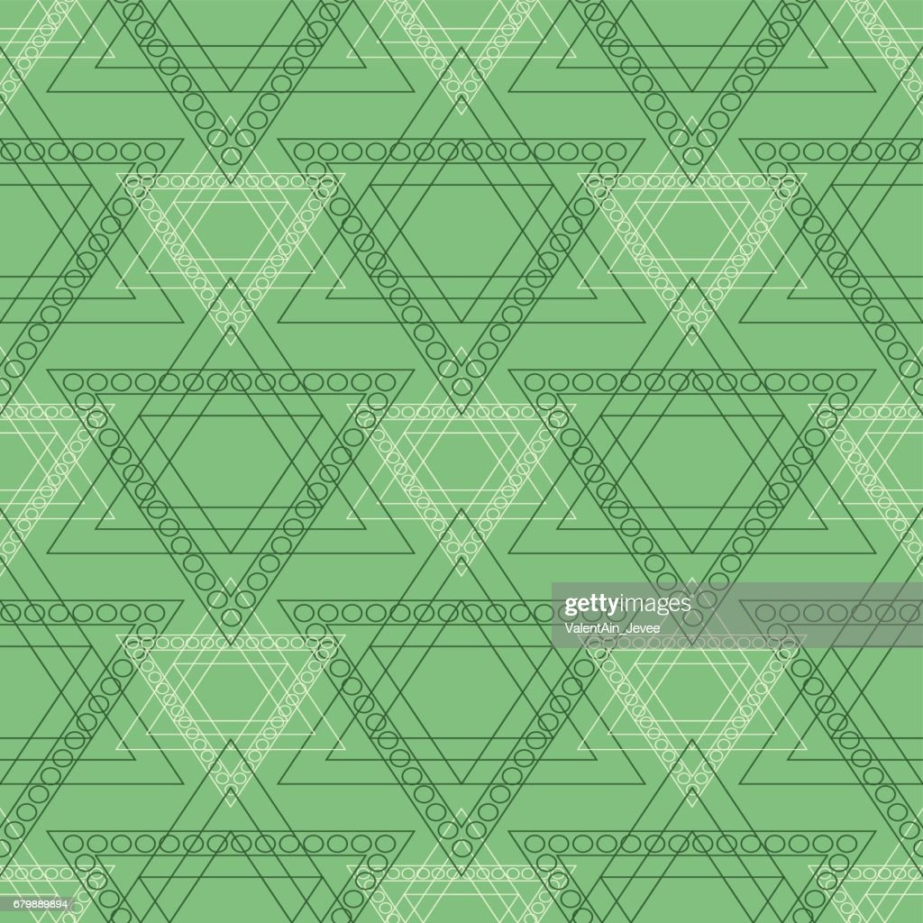 Seamless vector pattern. Symmetrical geometric background with green triangles in the shape of stars . Decorative repeating ornament.