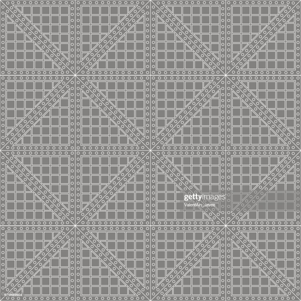Seamless vector pattern. Symmetrical geometric background with grey rhombus. Decorative repeating ornament.