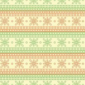 Seamless vector pattern. Symmetrical geometric background with red and green squares and flowers on the white backdrop. Decorative ornament.