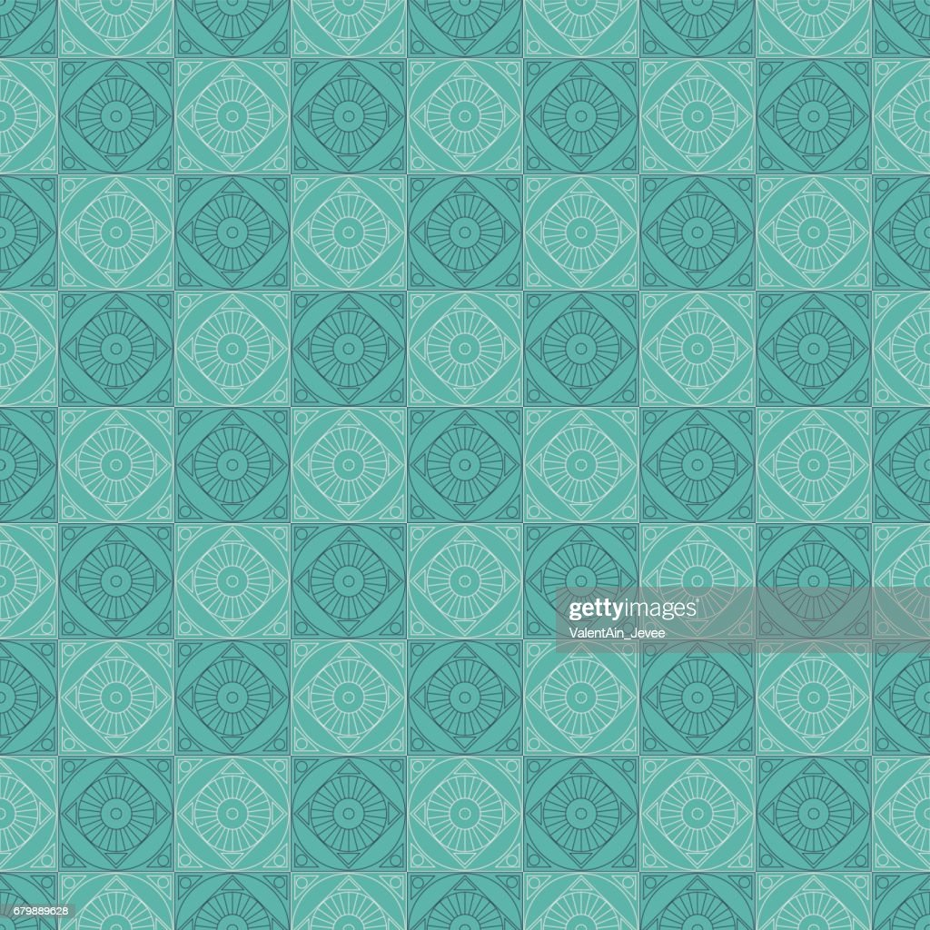 Seamless vector pattern. Symmetrical geometric background with squares on the blue backdrop. Decorative repeating ornament.