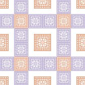Seamless vector pattern. Symmetrical geometric background with violet and red squares on the white backdrop. Decorative ornament.