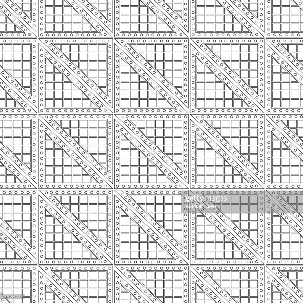 Seamless vector pattern. Symmetrical geometric black and white background with triangles. Decorative repeating ornament.