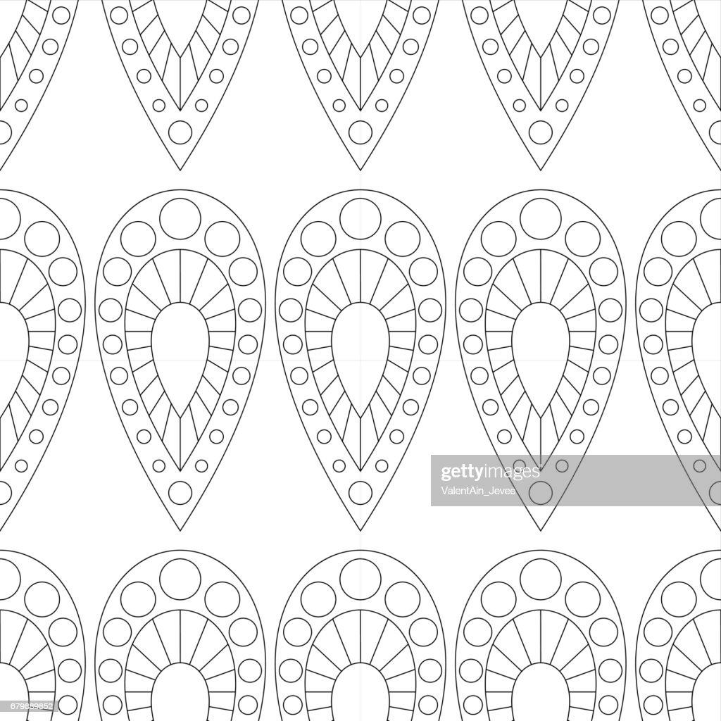 Seamless vector pattern. Symmetrical geometric black and white background with closeup drops. Decorative repeating ornament.