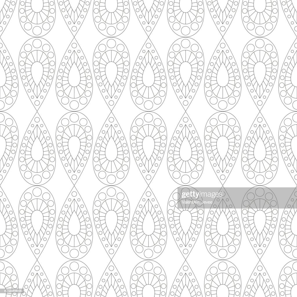 Seamless vector pattern. Symmetrical geometric black and white background with drops. Decorative repeating ornament.