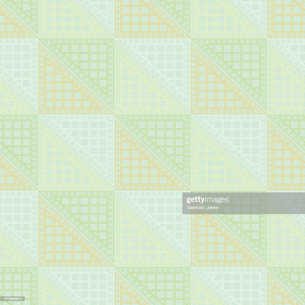 Seamless vector pattern. Symmetrical geometric green background with triangles. Decorative repeating ornament.
