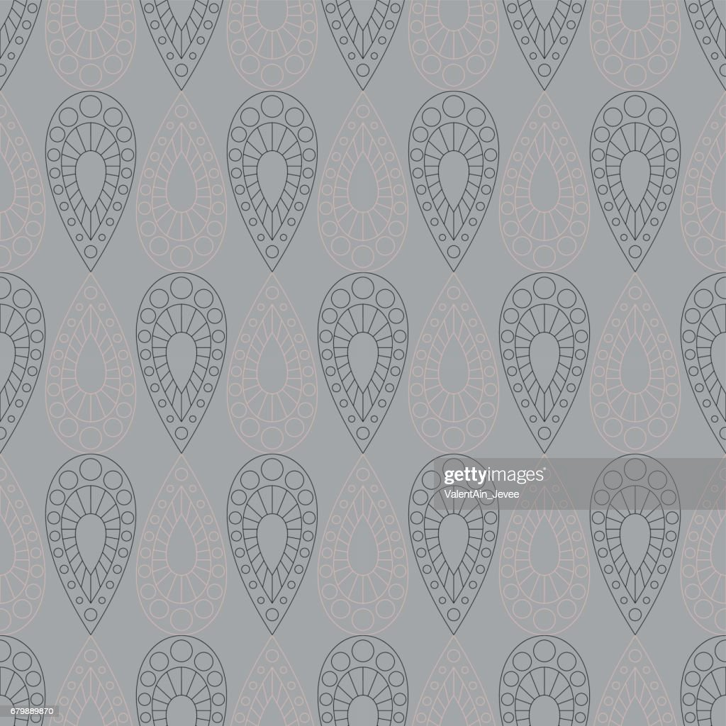 Seamless vector pattern. Symmetrical geometric grey background with drops. Decorative repeating ornament.